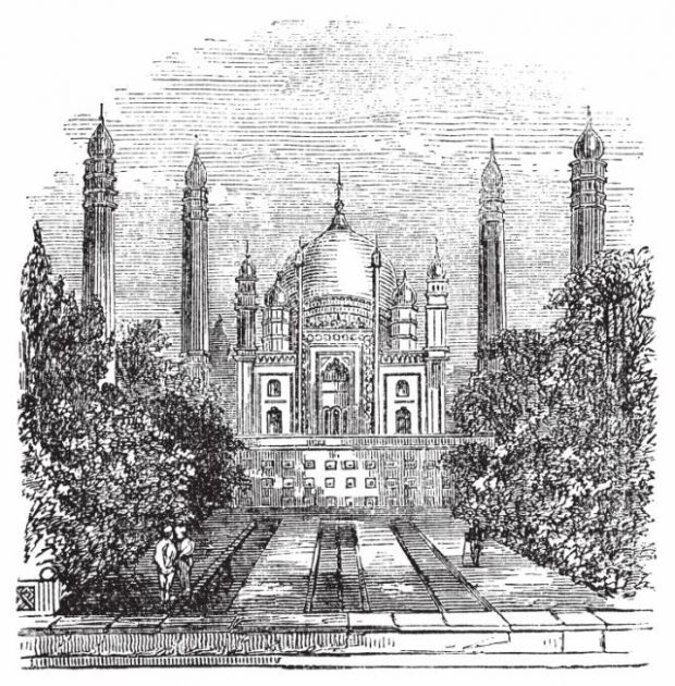 Engraving of a mausoleum with onion domes