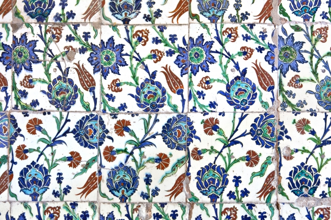 Ottoman carnations amid tulips and other flowers from Iznik tilework in the Sultanahmet or Blue Mosque Istanbul