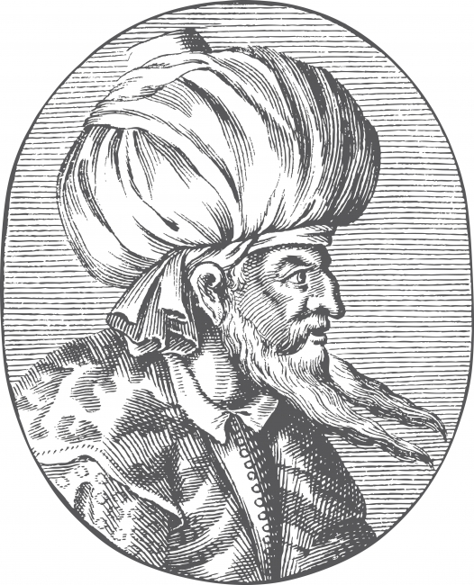 Engraved portrait of Sultan Orhan Gazi sporting an Ottoman turban