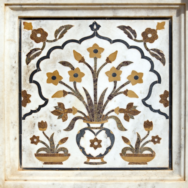 Marble inlay work on the cenotaphs of Shivpuri