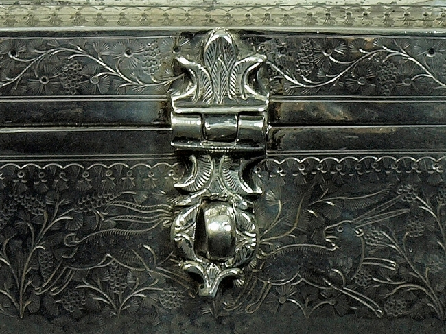 Detail of lock and running antelope or gazelles